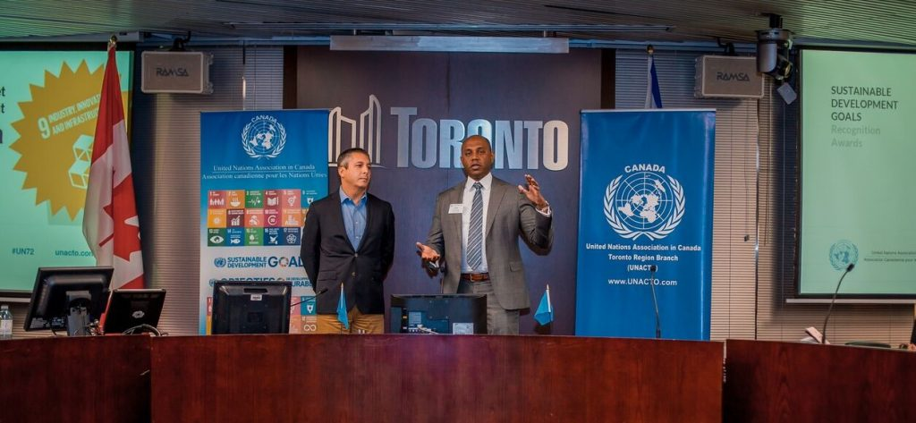 Alex and Jay discuss Socially Responsible Investing (SRI) before accepting their award for SRI at the 72nd Anniversary Celebration of the United Nations which took place at Toronto City Hall in October 2017.
